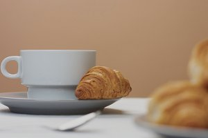 morning breakfast table with white cup
