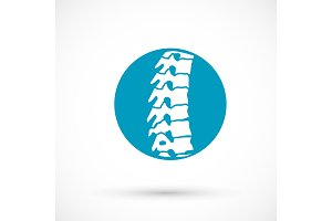 Spine health logo clinic medicine chiropractic backbone illustration
