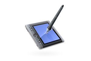 Digital tablet monitor with pen