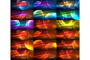 Set of magic neon shape abstract background, shiny light effect template for web banner, business or technology presentation background or elements