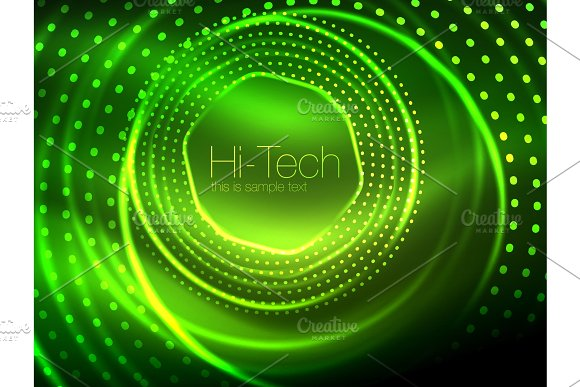Magic Neon Circle Shape Abstract Background Shiny Light Effect Template For Web Banner Business Or Technology Presentation Background Or Elements Vector Illustration