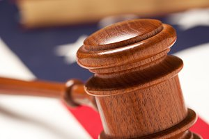 Gavel and Books on the American Flag