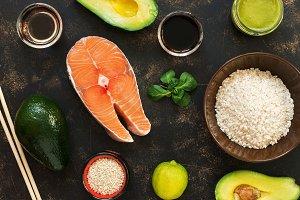 Ingredients for sushi, fish, rice