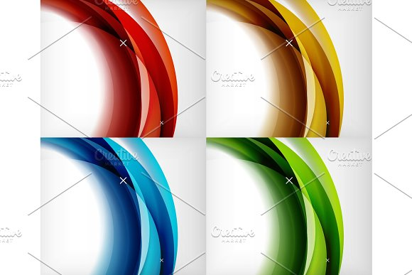 Set Of Glossy Glass Waves Vector Abstract Backgrounds Shiny Light Effects Templates For Web Banner Business Or Technology Presentation Background Or Elements