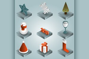 Christmas gradient isometric icons