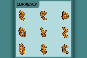 Currency color outline icons