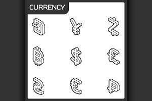 Currency outline isometric icons