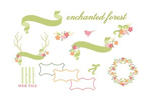 Antlers Flowers & Ribbons Vector