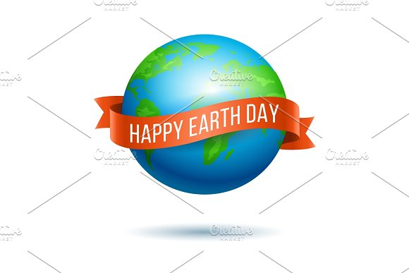 Earth Day Globe With Red Ribbon
