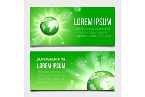 Green globe planet banners set