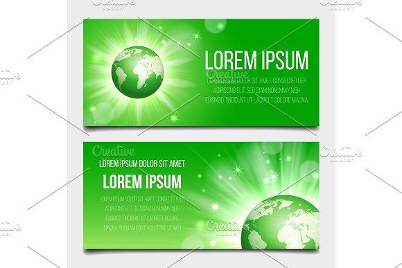 Green Globe Planet Banners Set