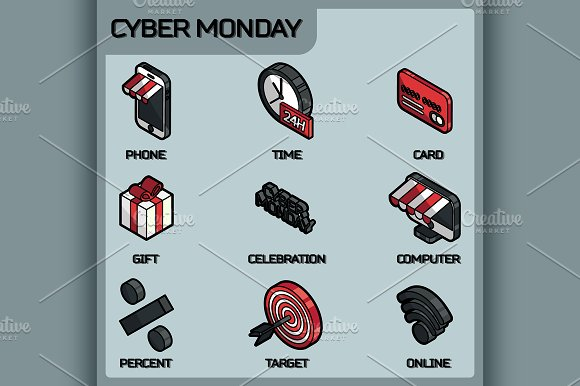 Cyber Monday Color Isometric Icons