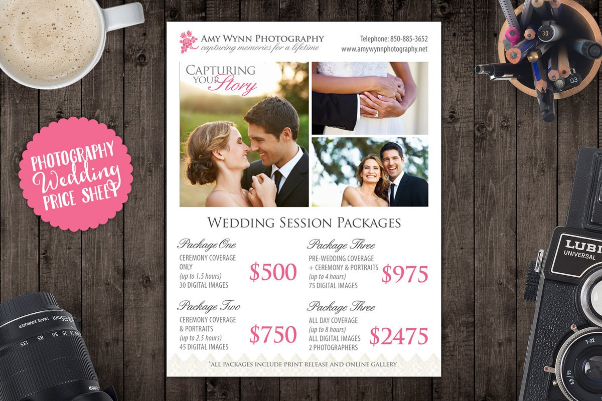 wedding photography price sheet templates creative market. Black Bedroom Furniture Sets. Home Design Ideas