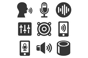 Voice Smart Devices Icons Set