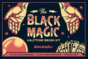 Black Magic Vector Halftone Brushes