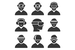 Virtual Reality VR Headset Icons Set