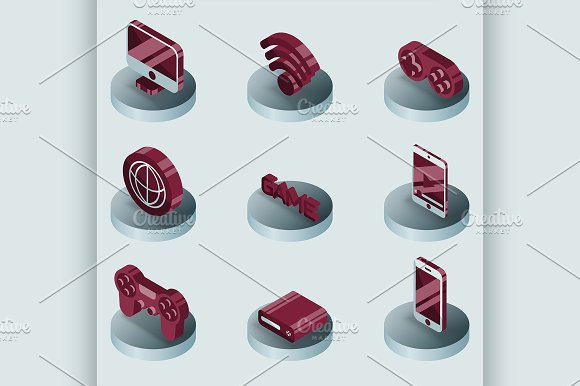 Cyber Sport Color Isometric Icons