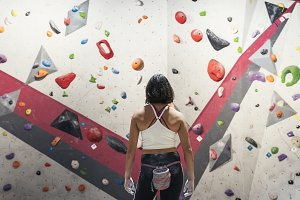 Woman ready for practice climbing.