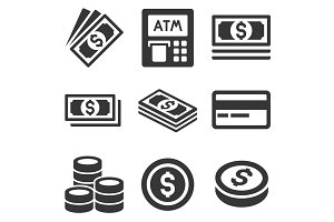 Cash Money Icons Set