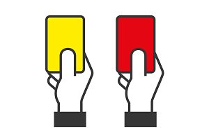 Hands Holding Red and Yellow Cards