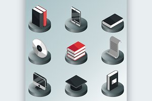 Library color isometric icons