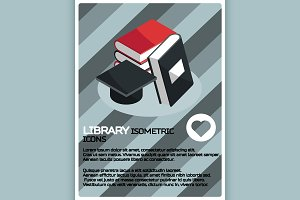Library color isometric poster