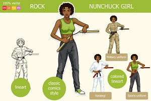 African American girl with nunchuck