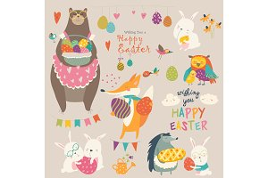 Animals celebrating Easter