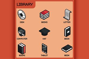 Library color outline icons