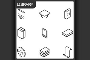 Library outline isometric icons