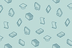 Library outline isometric pattern
