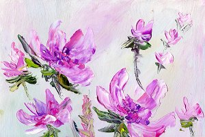 Hand painted modern style purple flowers