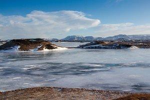Frozen, icy Myvatn lake
