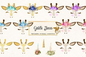 Giraffe Faces Clipart