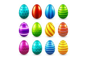 Easter eggs colored set. Spring. Holidays in April. Gift. Seasonal celebration.Egg hunt. Sunday.Food.