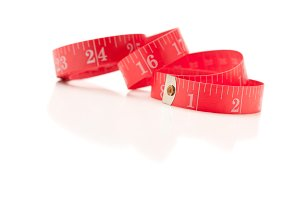 Red Measuring Tape Isolated on White