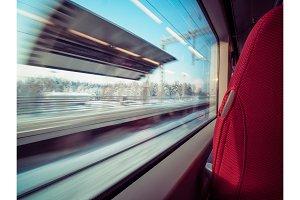 Motion railway platform through window railway car