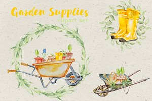 Watercolor Garden Supplies Clipart