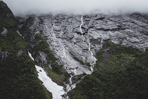 Mountain Range and Waterfall