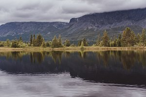 Mountain Lake and Trees with Clouds