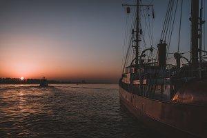 Old Ship at Harbor in Hamburg