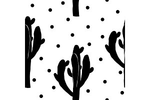 Cactus seamless vector pattern with saguaro. Cacti fabric print design. Succulent textile surface. Vector illustration.