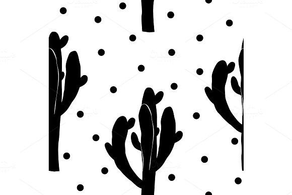 Cactus Seamless Vector Pattern With Saguaro Cacti Fabric Print Design Succulent Textile Surface Vector Illustration