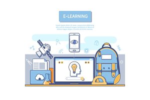 E-Learning concept for application development.Flat colorful design concept