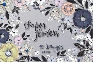 Paper flowers. Vector art