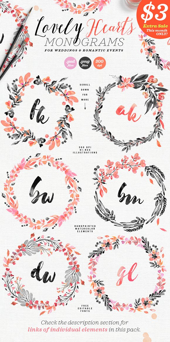 Lovely Hearts Monograms IV