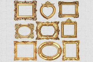 PNG Baroque style golden frames