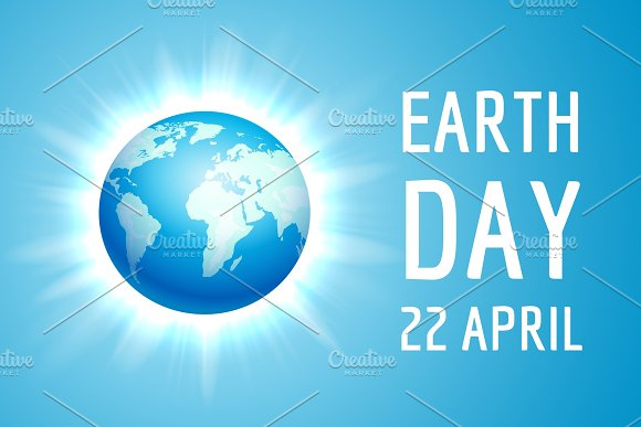 Earth Day Banner With Blue Globe