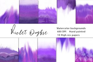 Violet ombre watercolor background