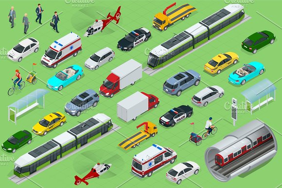 Isometric City Transport With Front And Rear Views Trolley Plane Helicopter Bicycle Sedan Van Cargo Truck Off-road Bike Mini Urban Public And Freight Vehihle